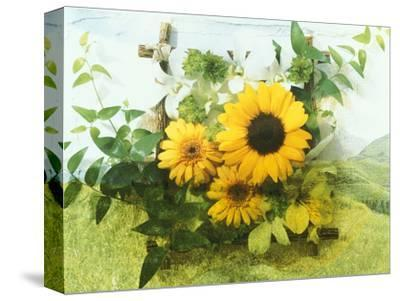 Sun Flowers And Green Vine Bouquet with Green Mountain Tops--Stretched Canvas Print
