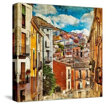 Colorful Spain - Streets And Buildings Of Cuenca Town - Artistic Picture-Maugli-l-Stretched Canvas Print