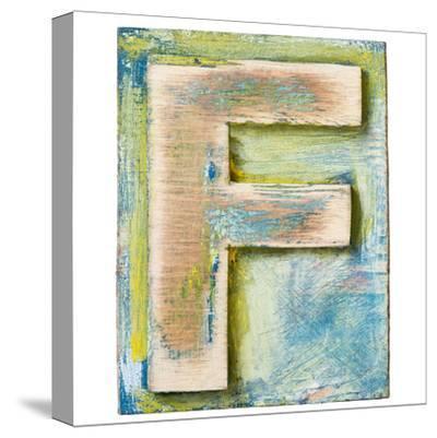 Wooden Alphabet Block, Letter F-donatas1205-Stretched Canvas Print