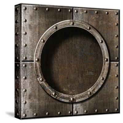 Armored Metal Porthole Background-Andrey_Kuzmin-Stretched Canvas Print