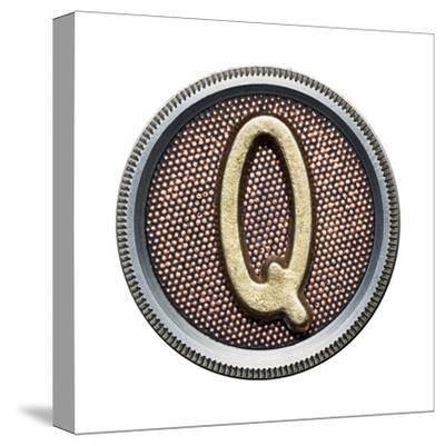 Metal Button Alphabet Letter-donatas1205-Stretched Canvas Print