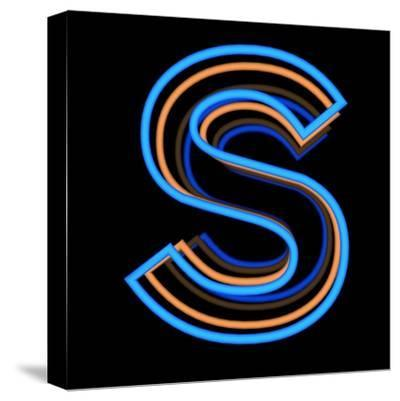 Glowing Letter S Isolated On Black Background-Andriy Zholudyev-Stretched Canvas Print