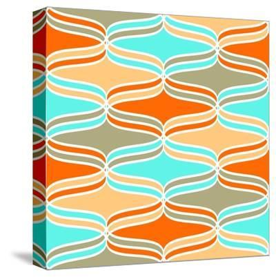 Geometric Wavy Lines Pattern- klivenkova-Stretched Canvas Print