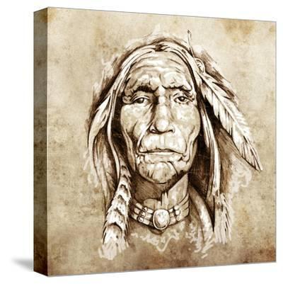 Sketch Of Tattoo Art, Monster Mask With White Fire-outsiderzone-Stretched Canvas Print