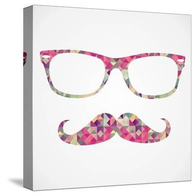 Retro Hipster Face Geometric Icons-cienpies-Stretched Canvas Print
