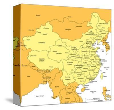 China With Administrative Districts And Surrounding Countries-Bruce Jones-Stretched Canvas Print