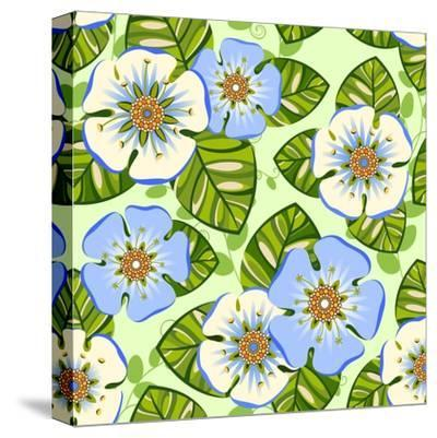 Romantic Floral Seamless Pattern-dNaya-Stretched Canvas Print