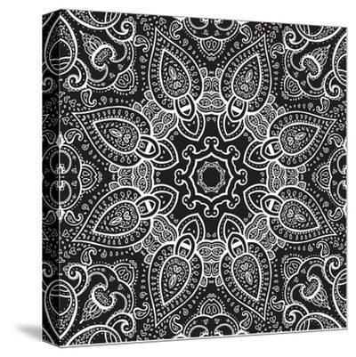 Lace Background: White on Black, Mandala-Katyau-Stretched Canvas Print