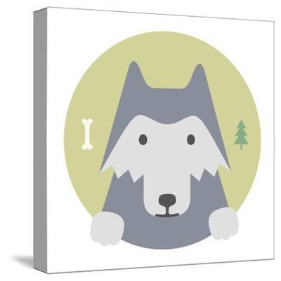 Animal Set. Portrait in Flat Graphics. Wolf-sonyakamoz-Stretched Canvas Print