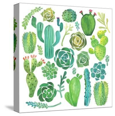Watercolor Cactus and Succulent Set-Nadydy-Stretched Canvas Print