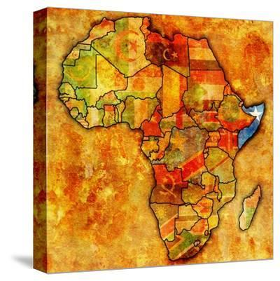 Somalia on Actual Map of Africa-michal812-Stretched Canvas Print
