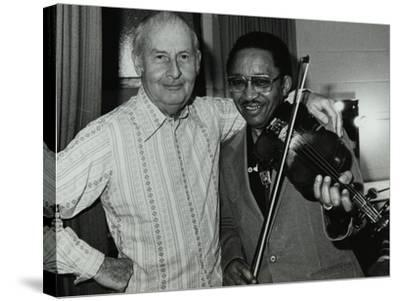 Stephane Grappelli and Claude Fiddler Williams at the Forum Theatre, Hertfordshire, 1980-Denis Williams-Stretched Canvas Print