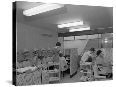 Hairdressers at Work, Armthorpe, Near Doncaster, South Yorkshire, 1961-Michael Walters-Stretched Canvas Print