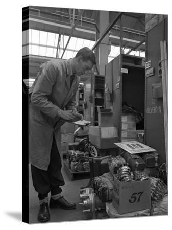 Warehouseman Checking Stock in the Stores at Bestwood Colliery, North Nottinghamshire, 1962-Michael Walters-Stretched Canvas Print
