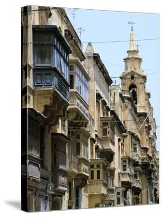 Balconies, St Pauls Street, Valletta, Malta-Peter Thompson-Stretched Canvas Print