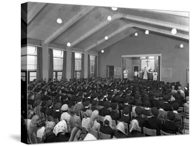Catholic School Mass, South Yorkshire, 1967-Michael Walters-Stretched Canvas Print