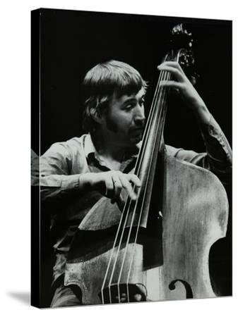 Double Bassist Ron Mathewson Playing at the Forum Theatre, Hatfield, Hertfordshire, 23 January 1982-Denis Williams-Stretched Canvas Print
