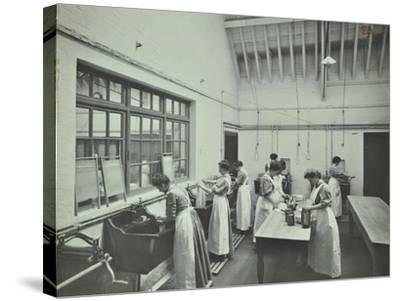The Washing Room, Battersea Polytechnic, London, 1907--Stretched Canvas Print