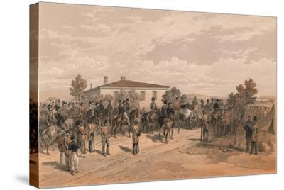 The Funeral Cortege of Lord Raglan Leaving Head Quarters, 1856-Thomas Picken-Stretched Canvas Print