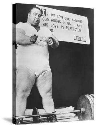 Paul Anderson, Performed at Weight Lifting and Strength Exhibitions--Stretched Canvas Print