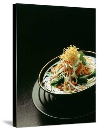 Japanese Noodle Soup (Miso Udon) with Fried Ginger-Frank Wieder-Stretched Canvas Print