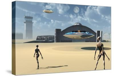 Alien Reptoids and their Flying Saucers at Area 51-Stocktrek Images-Stretched Canvas Print