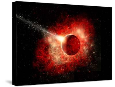 A Comet Hitting an Alien World with Devastating Effect-Stocktrek Images-Stretched Canvas Print