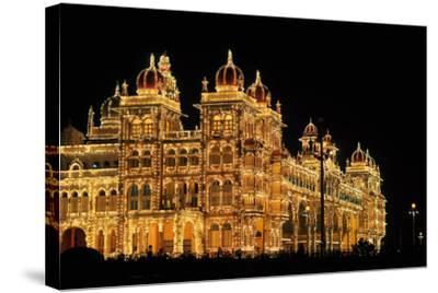 Mysore Palace in India Illuminated at Night-flocu-Stretched Canvas Print