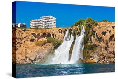 Waterfall Duden at Antalya Turkey - Nature Travel Background-Nik_Sorokin-Stretched Canvas Print