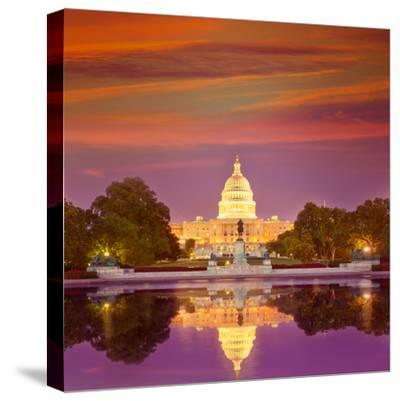 Capitol Building Sunset Congress of USA Washington DC US-holbox-Stretched Canvas Print