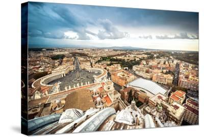 Famous Saint Peter's Square in Vatican and Aerial View of the City, Rome, Italy.-GekaSkr-Stretched Canvas Print