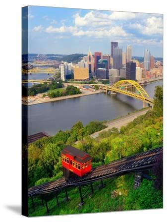Incline Operating in Front of the Downtown Skyline of Pittsburgh, Pennsylvania, Usa.-SeanPavonePhoto-Stretched Canvas Print