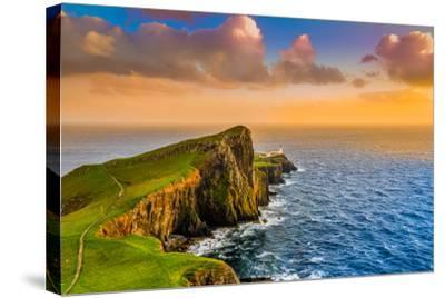 Colorful Ocean Coast Sunset at Neist Point Lighthouse, Scotland-MartinM303-Stretched Canvas Print
