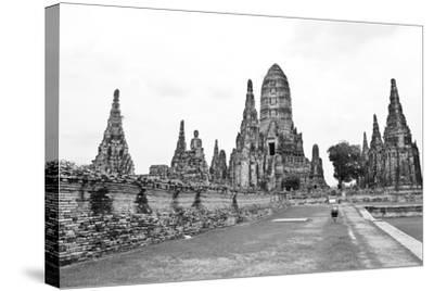Wat Chaiwatthanaram Temple Black and White Style. Ayutthaya Historical Park, Thailand.-doraclub-Stretched Canvas Print
