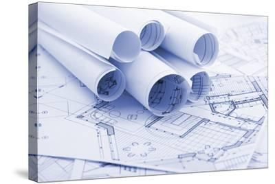 Rolls of Architecture Blueprints--Vladimir--Stretched Canvas Print