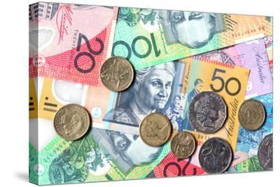 Full-Frame of Australian Notes and Coins-Robyn Mackenzie-Stretched Canvas Print