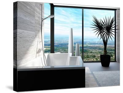 Modern Bathtub in a Bathroom Interior with Floor to Ceiling Windows with Panoramic View-PlusONE-Stretched Canvas Print