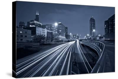 Nighttime Highway Traffic.-rudi1976-Stretched Canvas Print