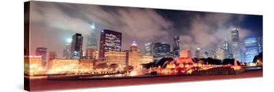 Chicago Skyline Panorama with Skyscrapers and Buckingham Fountain in Grant Park at Night Lit by Col-Songquan Deng-Stretched Canvas Print