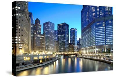 Chicago Skyline along the River-rebelml-Stretched Canvas Print