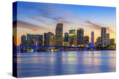 Famous City of Miami-prochasson-Stretched Canvas Print