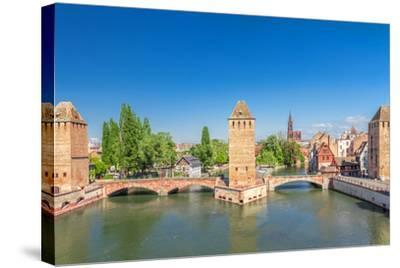Strasbourg, Medieval Bridge Ponts Couverts. Alsace, France.-g215-Stretched Canvas Print