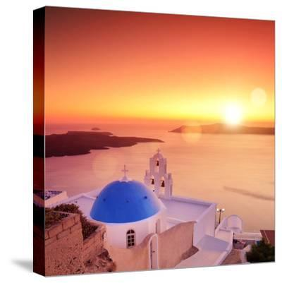 View of a Blue Dome of the Church St. Spirou in Firostefani on the Island of Santorini Greece, at S-buso23-Stretched Canvas Print