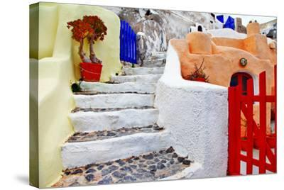 Colors of Santorini Series - Pictorial Detail of Oia Village-Maugli-l-Stretched Canvas Print