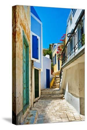 Pretty Colored Streets of Greek Islands-Maugli-l-Stretched Canvas Print