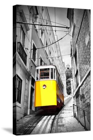 Funicular (Elevador Do Lavra) in Lisbon, Portugal-Zoom-zoom-Stretched Canvas Print