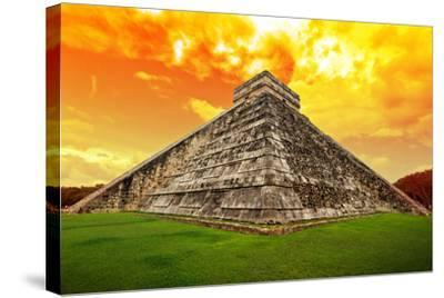 Amazing Sky over Kukulkan Pyramid in Chichen Itza, Mexico-Patryk Kosmider-Stretched Canvas Print