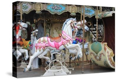 Painted Carousel Horses, Paris, France-John Cumbow-Stretched Canvas Print