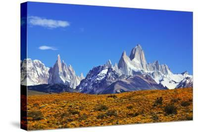 The Magnificent Mountain Range - Mount Fitzroy in Patagonia, Argentina. Summer Sunny Noon-kavram-Stretched Canvas Print