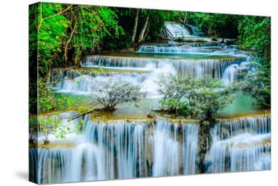 Huay Mae Khamin - Waterfall, Flowing Water, Paradise in Thailand.-ThaiWanderer-Stretched Canvas Print